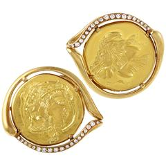 Piaget Diamond Gold Coin Cufflinks