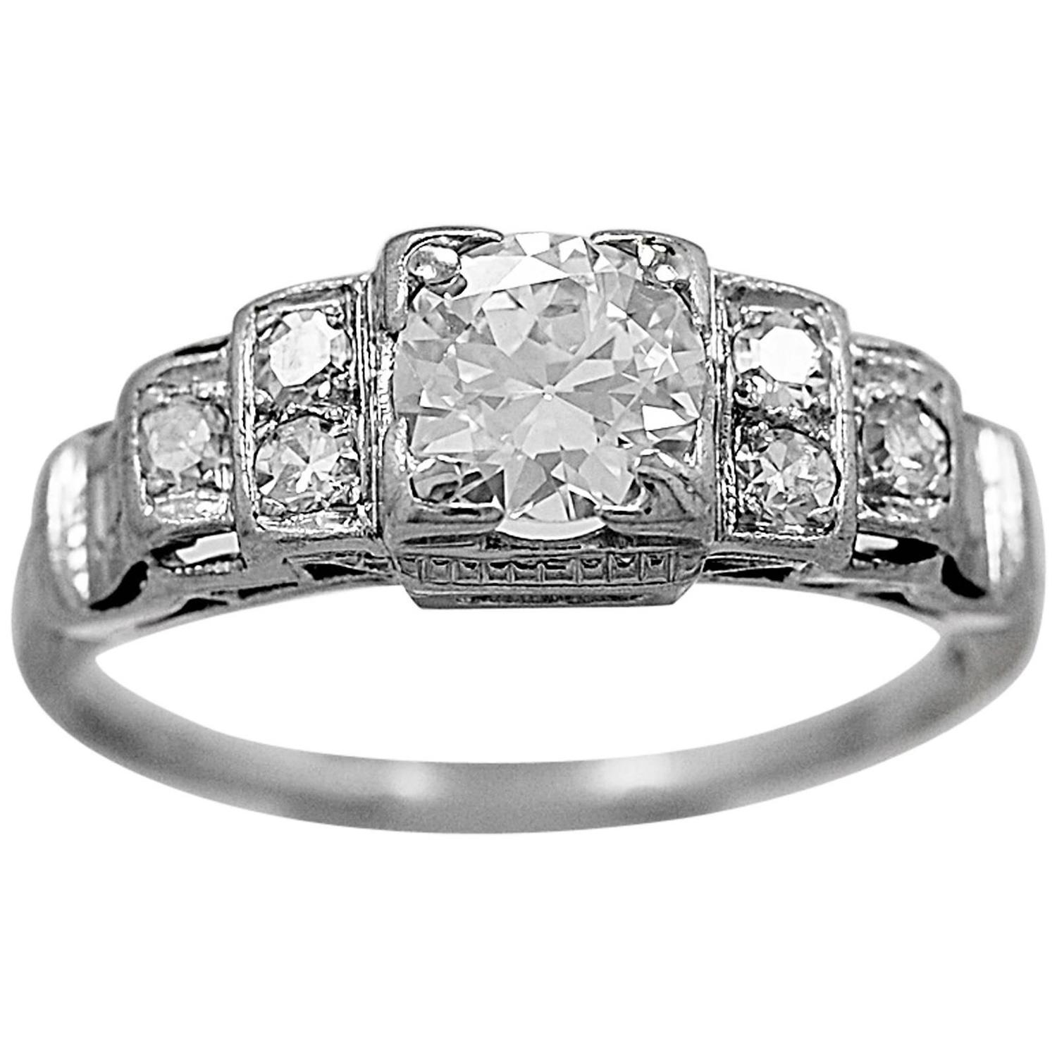 Art Deco 55 Carat Diamond Platinum Engagement Ring For Sale at
