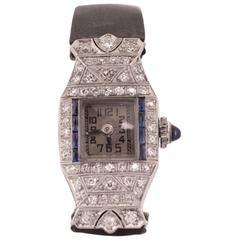 Art Deco Ladies Platinum Diamond Sapphire Wristwatch