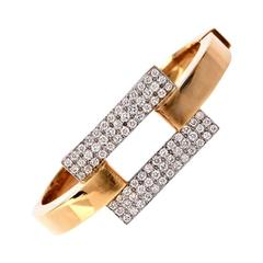 Modern Diamond Gold Bangle Bracelet