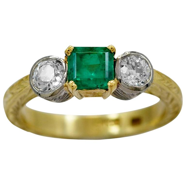 .75 Carat Emerald Diamond Gold Engagement Ring