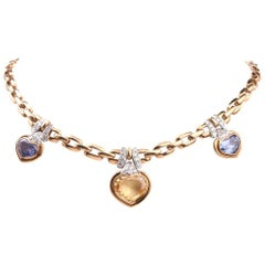 1980s GIA Natural Sapphire Diamond Choker Gold Necklace