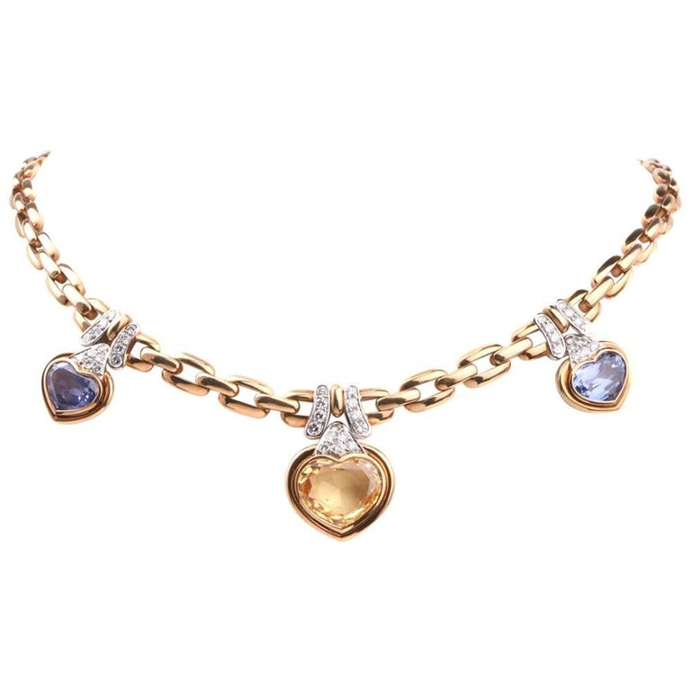 1980s GIA Natural Sapphire Diamond Choker Gold Necklace For Sale