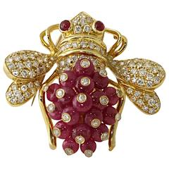 1.10 Carat Diamonds Rubies Gold Bee Pin