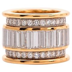 Round Baguette Diamond Wide Gold Platinum Eternity Band Ring