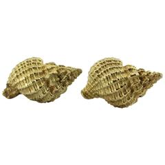 Tiffany & Co. Gold Brushed Conch Shell Earrings