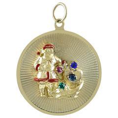 Santa Gemset Gold Charm