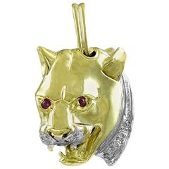 Fierce Gemset Gold Double-sided Leopard Head Pendant