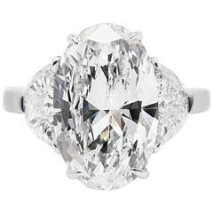 4.01 Carat GIA Cert Oval Diamond Platinum Ring