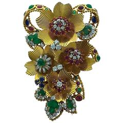 1955 Multi Gem Diamond Gold Flower Brooch