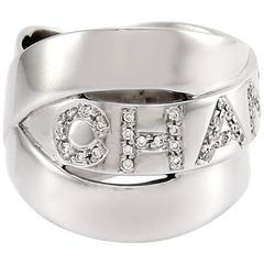 Chanel Micro-Pavé Diamond White Gold Crossover Logo Band Ring