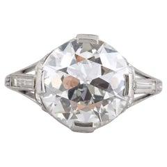 Art Deco 4.06 Carat Old European Cut Diamond Engagement Ring