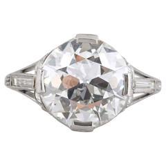 Art Deco 4.06 Carat Diamond Engagement Ring