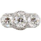 Edwardian Three-Stone Diamond Filigree Platinum Engagement Ring