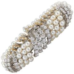 David Webb Pearl Diamond Bracelet