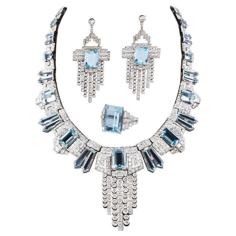 Aquamarine  Diamond Accent Necklace Ring  Earring set  For Sale