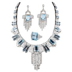 Aquamarine  Diamond Accent Necklace Ring  Earring set