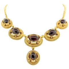 1890s Garnet Gold Victorian Necklace