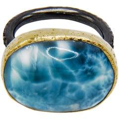 Large Caribbean Larimar Ring Yellow Gold Oxidized Silver