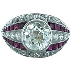1930s Art Deco Diamond Ruby and Platinum Ring