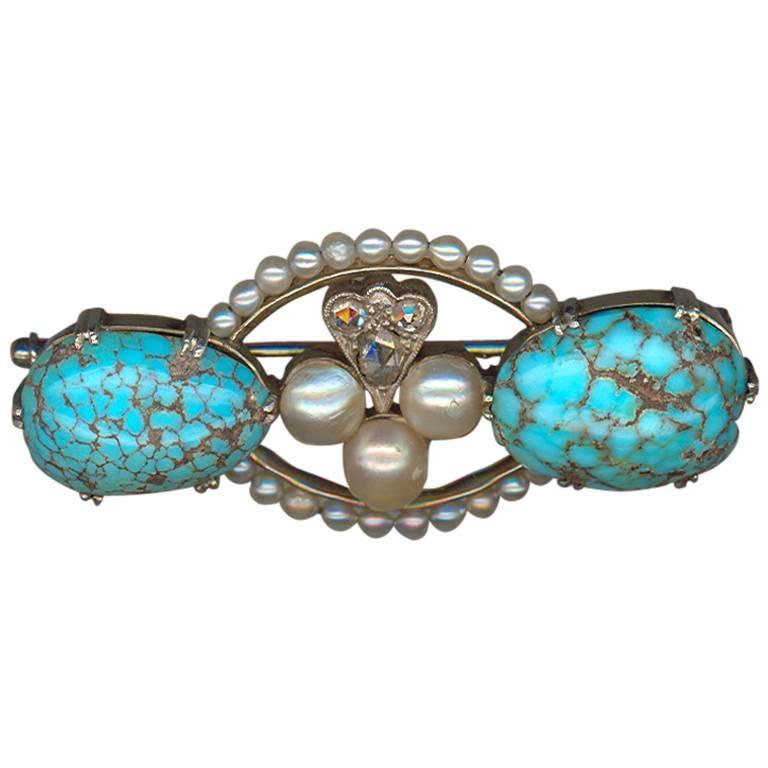 Antique Pearl Turquoise Diamond Platinum Brooch  1