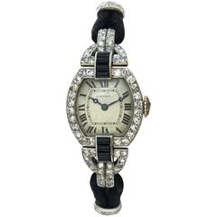 Cartier Paris Platinum Yellow Gold Diamond Onyx Art Deco Wristwatch, 1920s