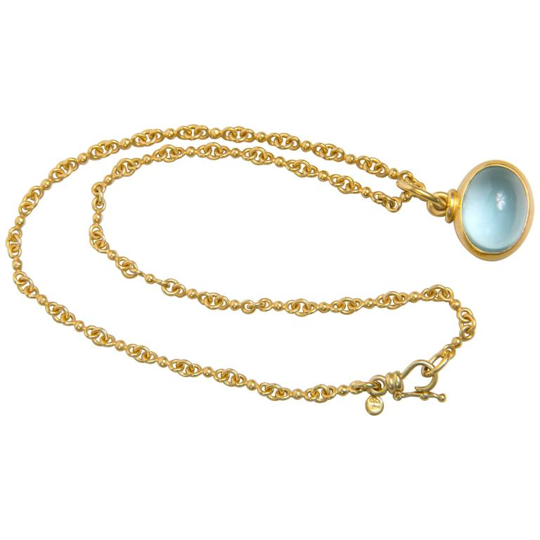 Denis Betesh Single Ball Chain And Green Moonstone Pendant  1