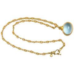 Denis Betesh Single Ball Chain And Green Moonstone Pendant