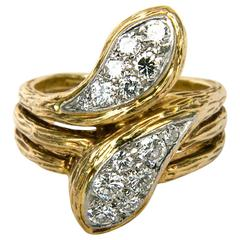 Van Cleef & Arpels Gold Diamond Snake Ring