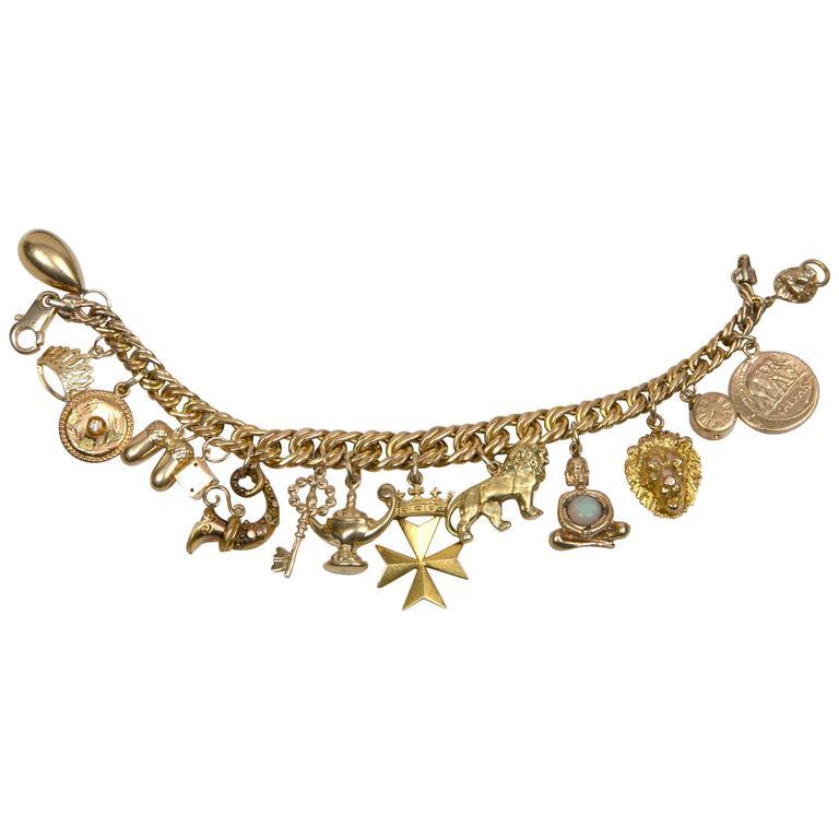 Victorian And Mid Century Charm Bracelet