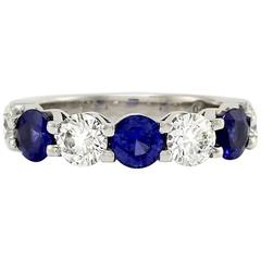 Seven-Stone Sapphire Diamonds Platinum Anniversary Band Ring