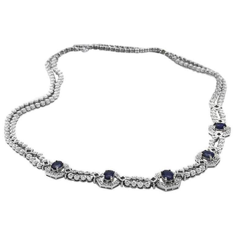 Sapphire Diamond Gold Double Strand Necklace 1
