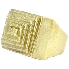 David Webb Ancient World Step Pyramid Gold Ring