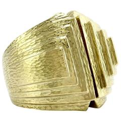 David Webb Ancient World Collection Gold Step Ring