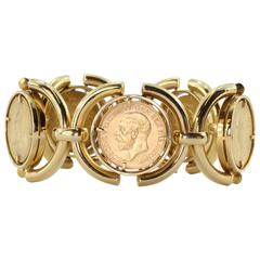 Heavy British Gold Sovereign Coin Bracelet from Verona Italy