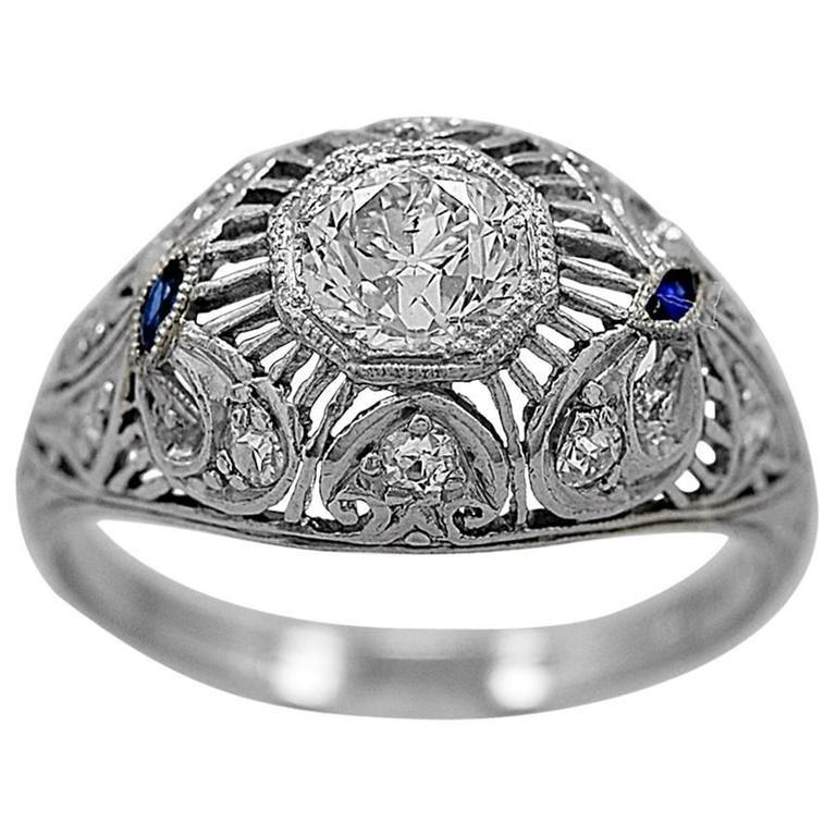 Art Deco .70 Carat Diamond Sapphire Platinum Engagement Ring