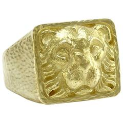 David Webb Ancient World Collection Gold Lion Ring