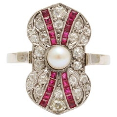 Art Deco Ruby Diamond Pearl Ring