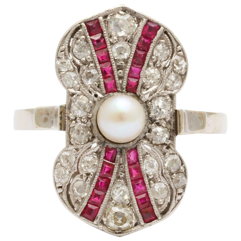 Art Deco Ruby Diamond Pearl Ring For Sale