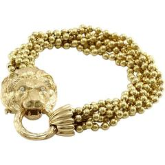 Van Cleef & Arpels Gold Lion Mask Beaded  Bracelet