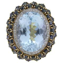 ct 45,50 Blue Topaz Diamond and ct 12,88 Sapphire Gold Ring