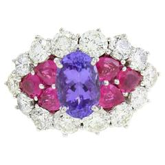 Luise  Ruby Tanizanite Diamond Gold Ring