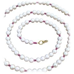 Akoya Pearl & Pink Sapphire Bead Necklace