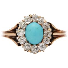 Persian Turquoise and Old Mine Cut Cluster Ring