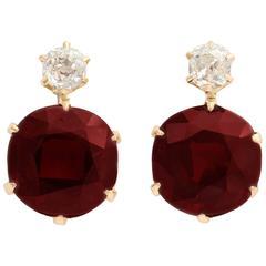 Antique Garnet Diamond Gold Earrings