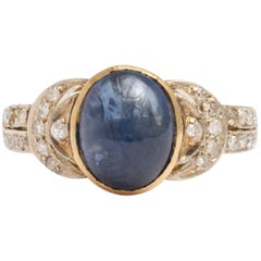 Edwardian Cabochon Sapphire and Diamond Ring