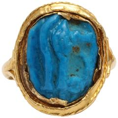 Ancient Egyptian Faience Eye Amulet Mounted as a Gold ring