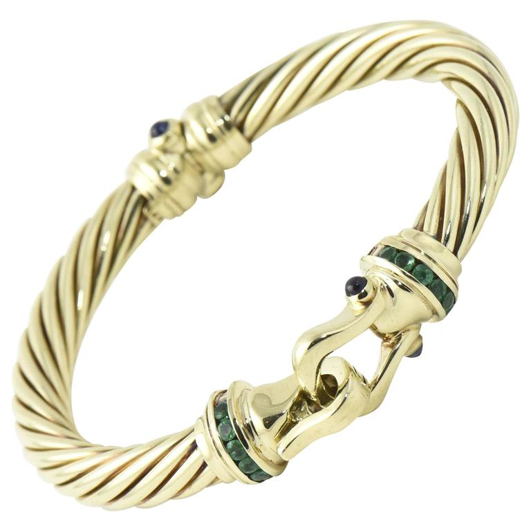 David Yurman Cable Clic Buckle Bracelet With Emerald And Shire Gold Bangle For