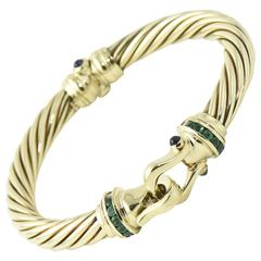 David Yurman Cable Classic Buckle Bracelet with Emerald and Sapphire Gold Bangle