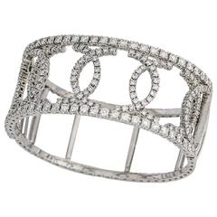 "18 Karat White Gold Ornate Bangle 10 Carat Diamond Double ""C"" Shape, Wide Cuff"